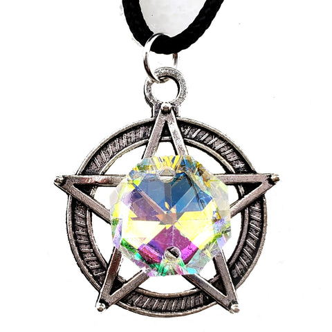 White Witch Prism Pentacle Necklace