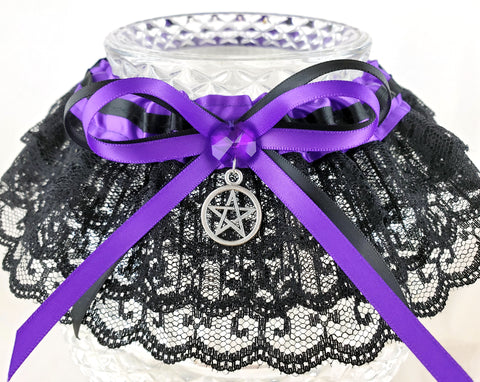 Purple Pentacle Handfasting Garter or Garter Set