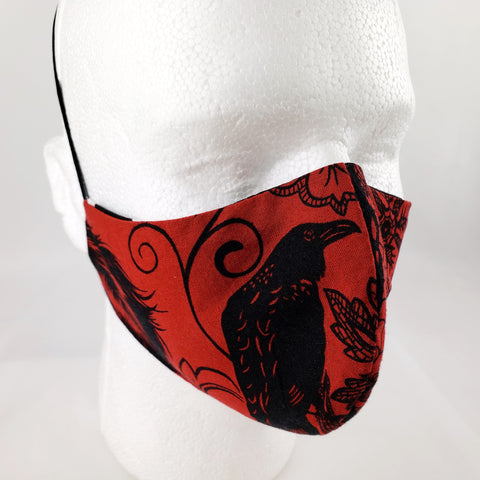 The Raven Red Gothic Poe Fitted Face Mask