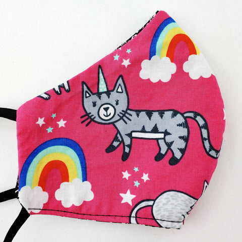 Unicorn Kitty Reversible Fitted Face Mask