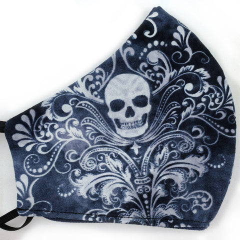 Gothic Skull Brocade & Navy Reversible Fitted Face Mask