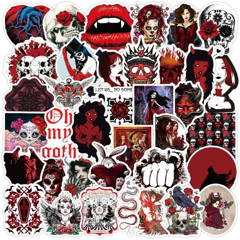 50PCS Gothic Horror Stickers Vampire Day of the Dead Halloween Waterproof PVC