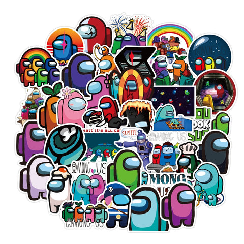 50pcs Among Us Cartoon Game Stickers Graffiti Sticker Decals Luggage Skateboards