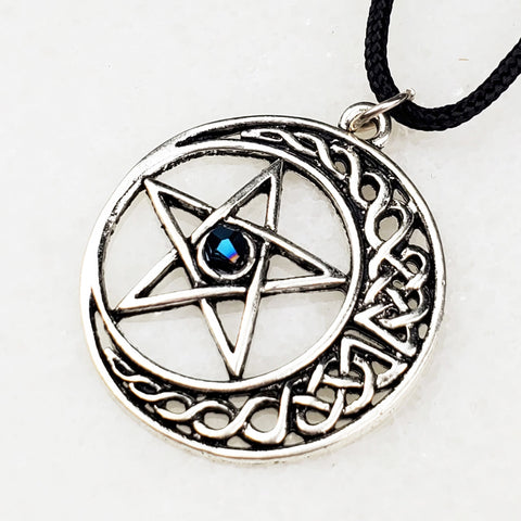 Blue Pentacle Moon Necklace