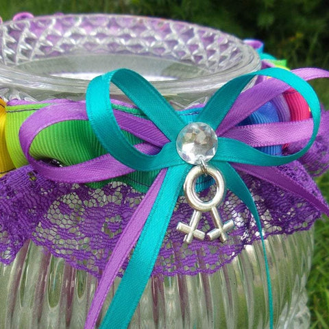 Custom Rainbow Wedding Garter or Garter Set