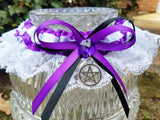 Purple & White Pentacle Handfasting Garter or Garter Set