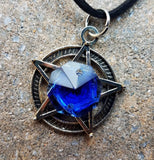 Starry Night Cobalt Blue Pentacle Prism Necklace