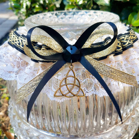 Celtic Triquetra Wedding Garter or Garter Set