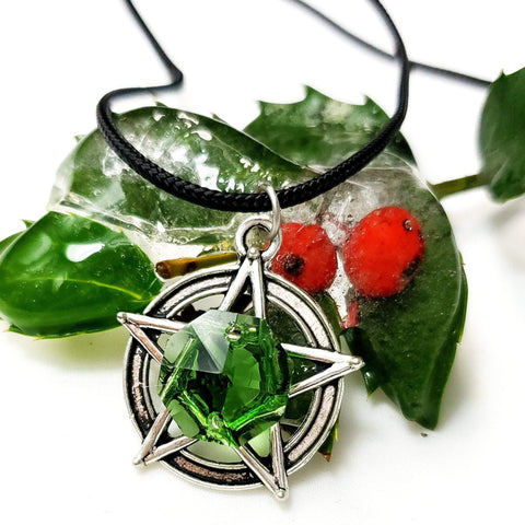 Earth Green Prism Pentacle Necklace