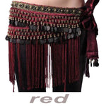 Gothic Tribal Belly Dance Coin Hip Scarf Available in Black, Burgundy and Brown