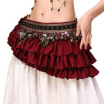 Tribal Belly Dance Coin Layered Ruffled Hip Scarf or bustle in Red, Black or Green