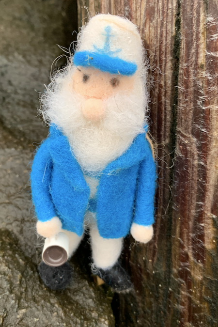 Felted Captain Ornament with Coffee Mug