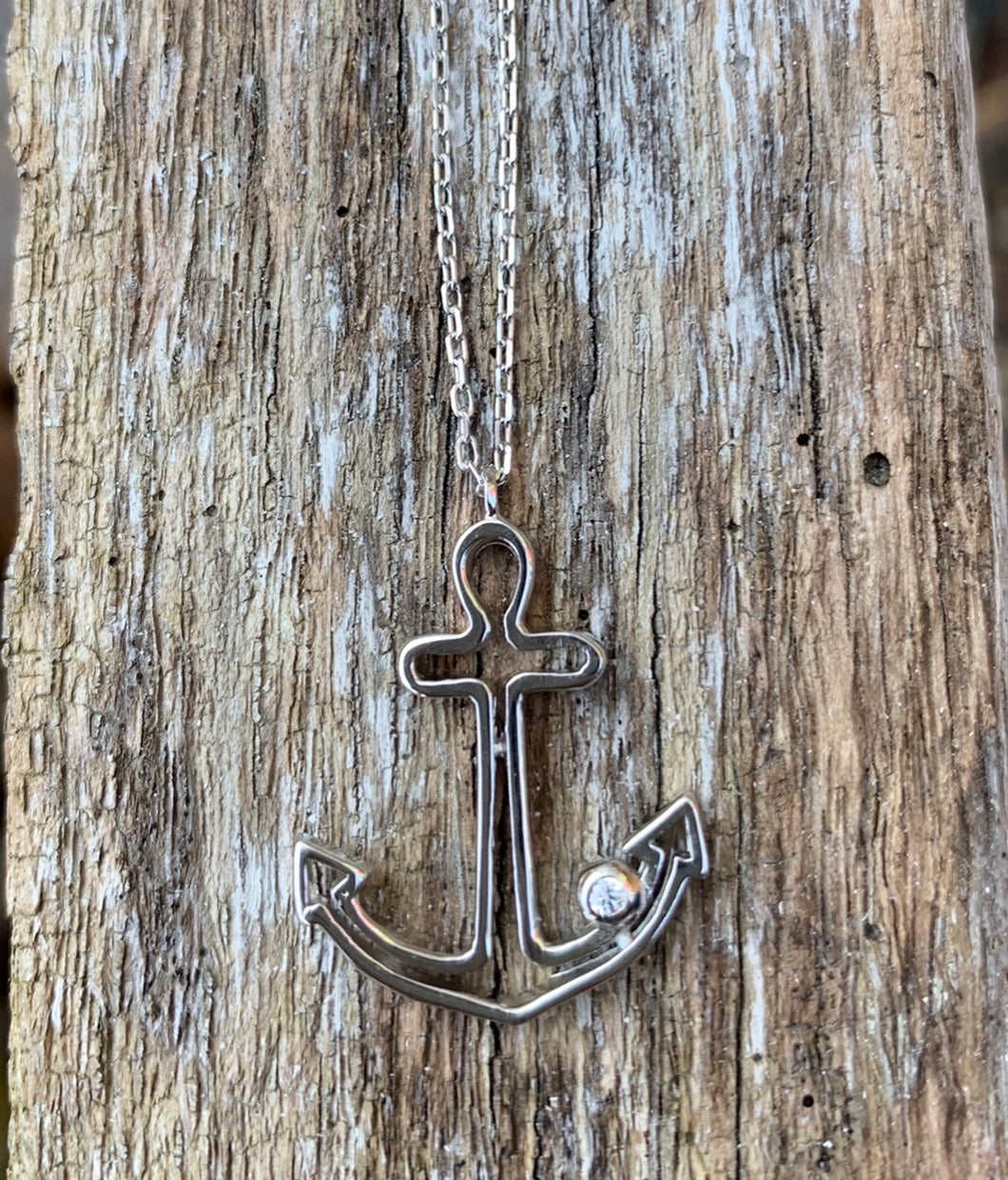 Sterling anchor necklace