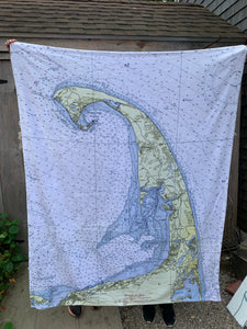 Wellfleet nautical chart fleece throw