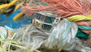 Sterling silver cuff ring- ocean girl