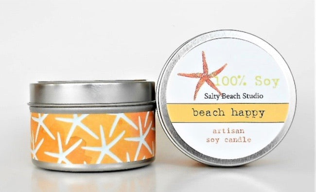 Beach happy candle