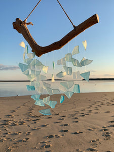 Glass and driftwood wind chimes - small