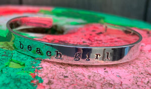 Sterling silver beach girl cuff bracelet