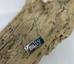 Sterling salty bar necklace