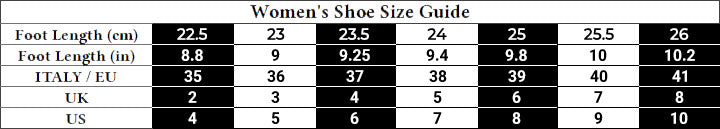 Women's Shoes Size Guide