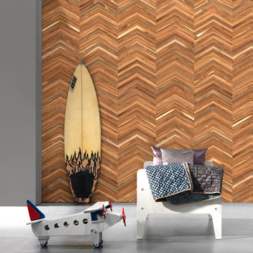 TIM-06 Teak on teak chevron Timber Strips