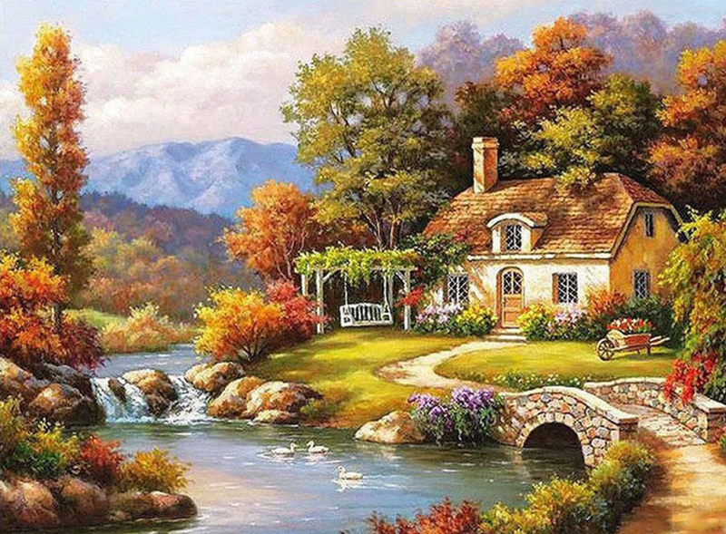 Charming Riverside Village Paint By Numbers Kits VM91034