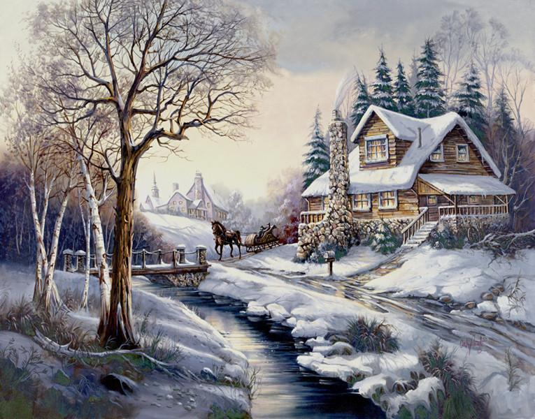 Landscape Snow Village Diy Paint By Numbers Kits PBN91467