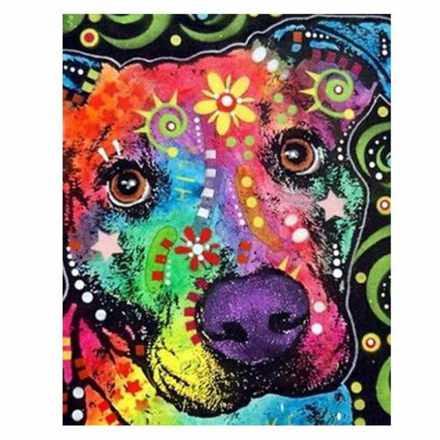 Colorful Dog Diy Paint By Numbers Kits VM97832