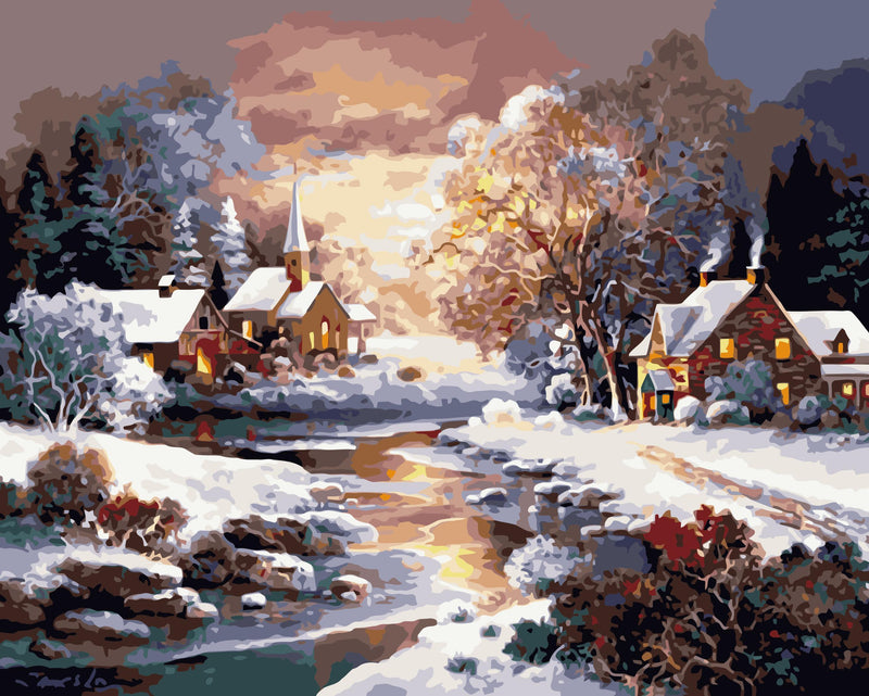 Winter Snow Village Paint By Numbers Kits WM-093