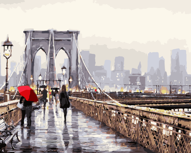 Buildings Rainy Bridge Diy Paint By Numbers Kits WM-818