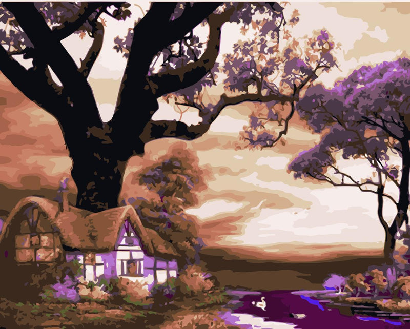 Landscape Cottage Tree Diy Paint By Numbers Kits WM-949