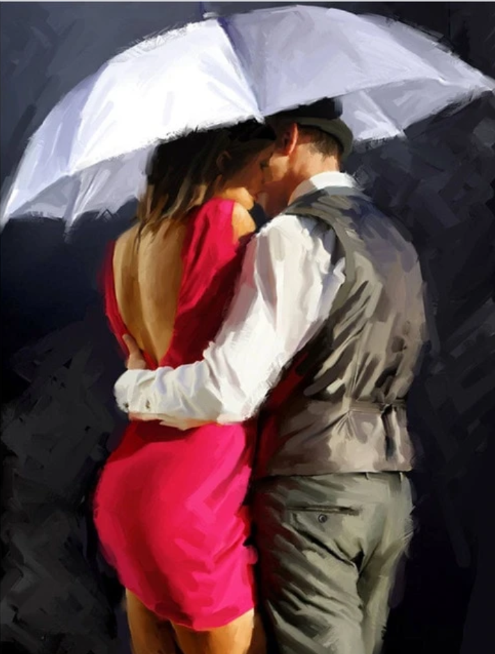 Lovers Under Umbrella Diy Paint By Numbers Kits ZXQ141-22