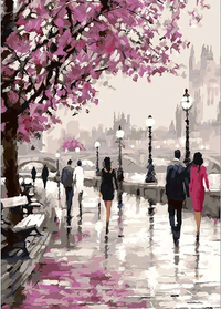 Romantic Street Scenery Diy Paint By Numbers Kits PBN00034