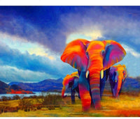 Animal African Colorful Elephants Diy Paint By Numbers Kits VM00190