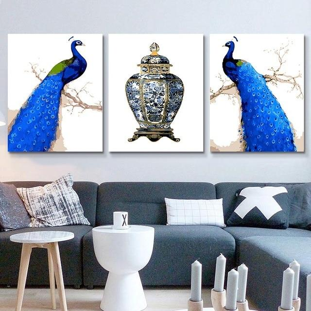 3X Multi Panel Peacock Diy Paint By Numbers Kits PBN91767