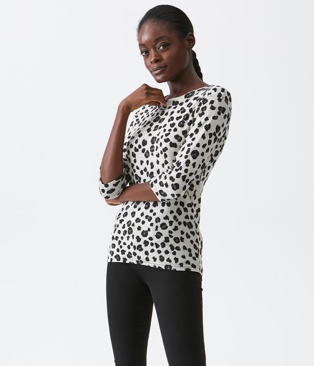 3/4 Sleeve Animal Print Tee