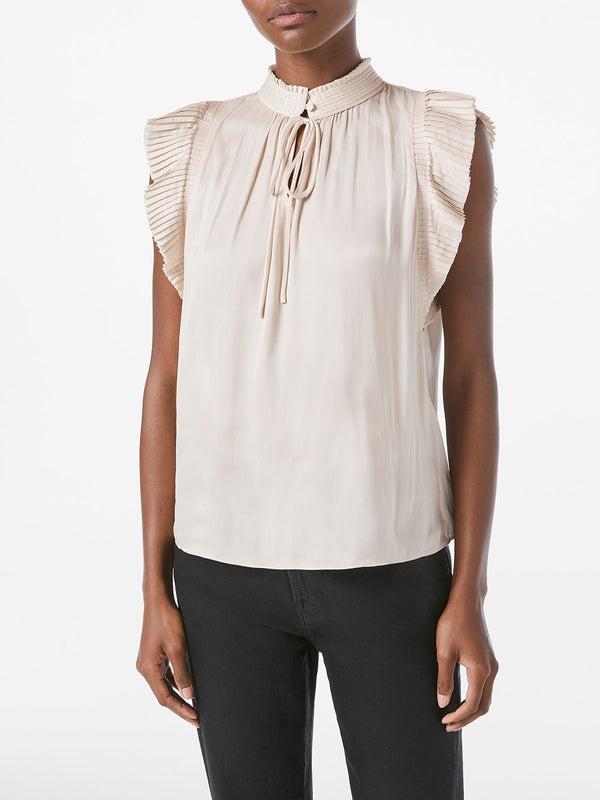 FRAME Pleated Sleeveless Keyhole Top
