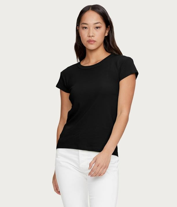 MICHAEL STARS Basic Cap Sleeve Crew - Black
