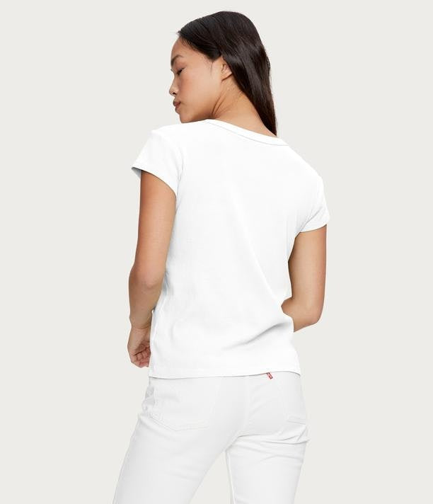 MICHAEL STARS Basic Cap Sleeve Crew - White