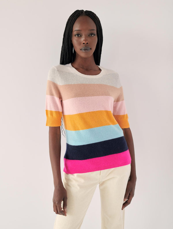 WHITE + WARREN Block Striped Elbow Sleeve Sweater