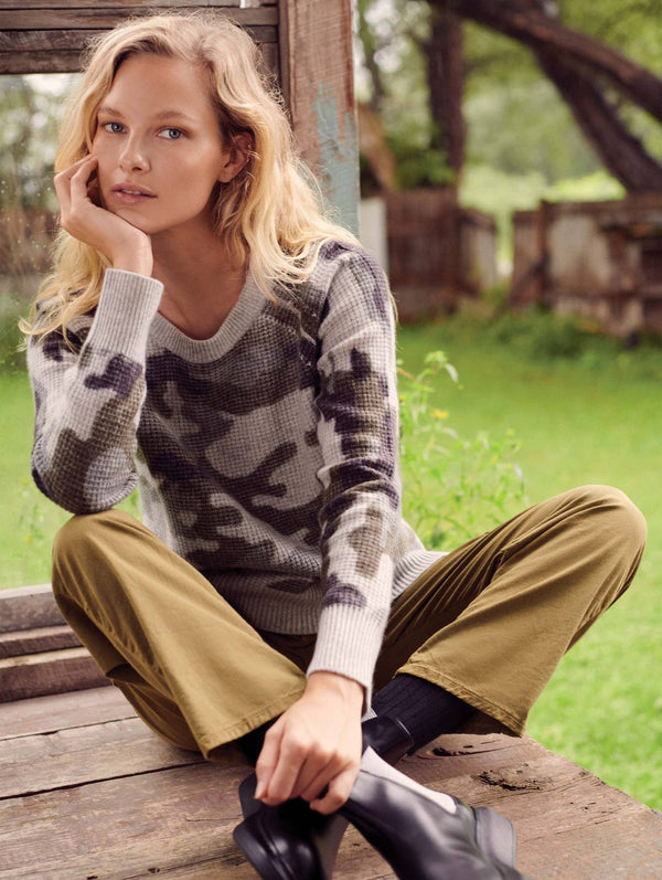 WHITE + WARREN Camo Thermal Sweatshirt