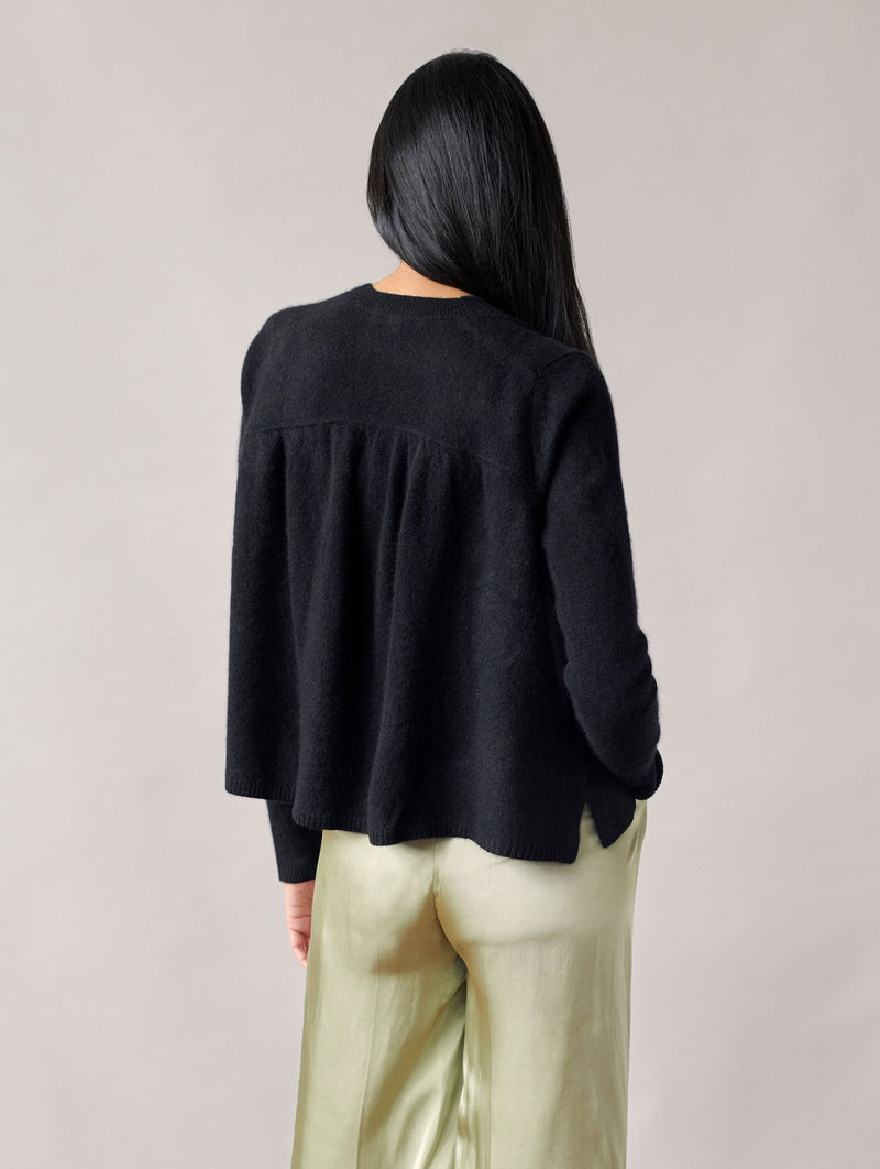 WHITE + WARREN Ruched Back Cardigan Sweater