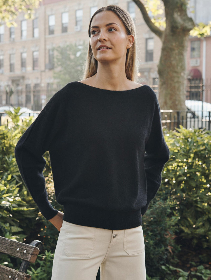 Cashmere Off shoulder Crew Neck Sweater