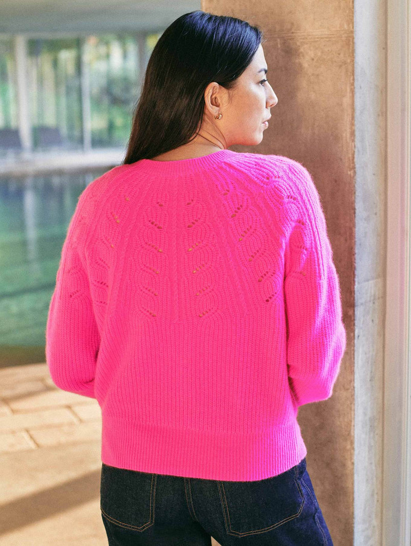 Cashmere Lace Pointelle Crewneck Sweater