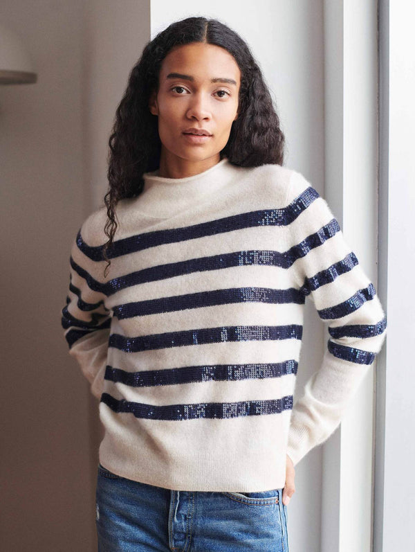 Cashmere Sequin Stripe Funnel Neck