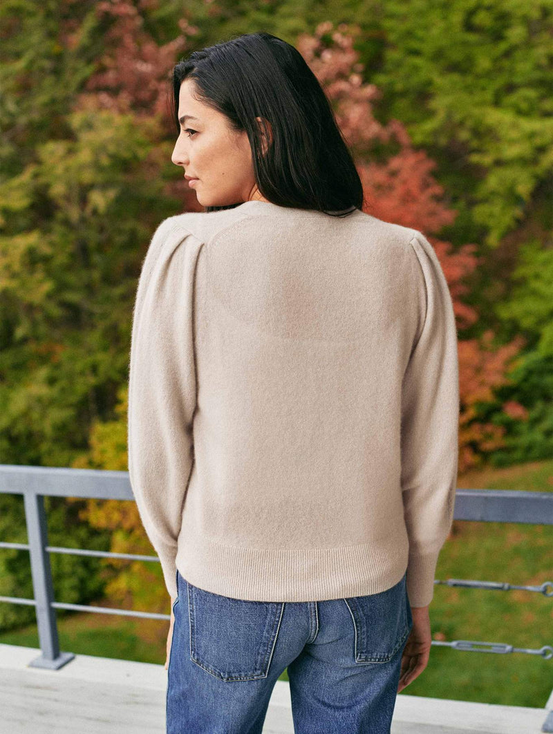 Cashmere Blouson Sleeve Cardigan Top