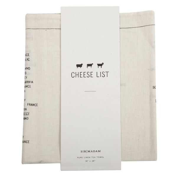 Cheese List Linen Tea Towel