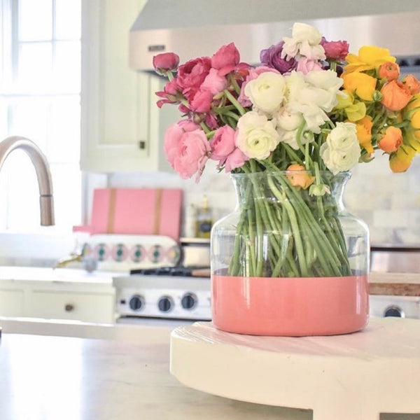Pink Colorblock Flower Vase