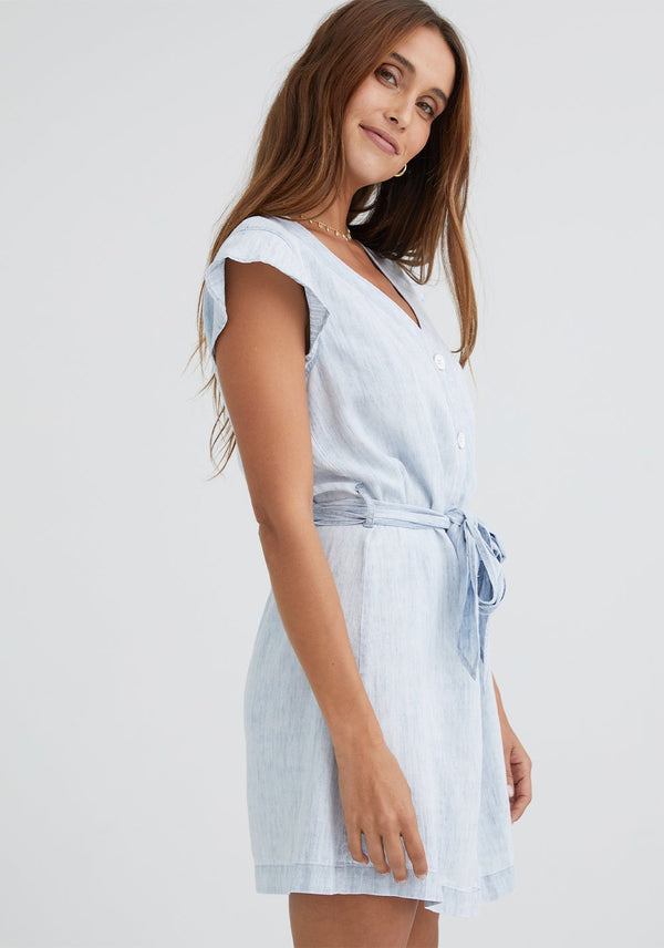 BELLA DAHL Button Front Ruffle Sleeve Dress