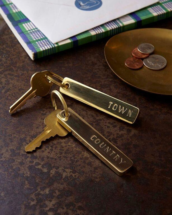 Brass Town/country key chain